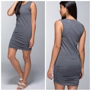 LULULEMON In the flow heathered black ruched dress